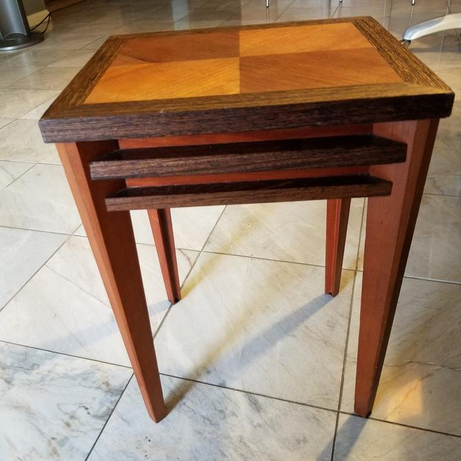 Petite Side Table Solid Wood Marquetry Midcentury Modern 1970s by AMBIANIC