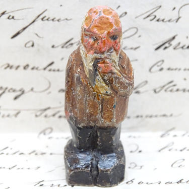 Antique German Hand Carved Wooden Man with Beard Vintage Hand Painted Miniature Toy for Putz or Nativity, Erzgebirge Germany by exploremag