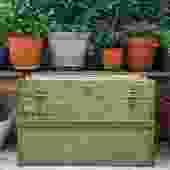 green vintage steamer trunk