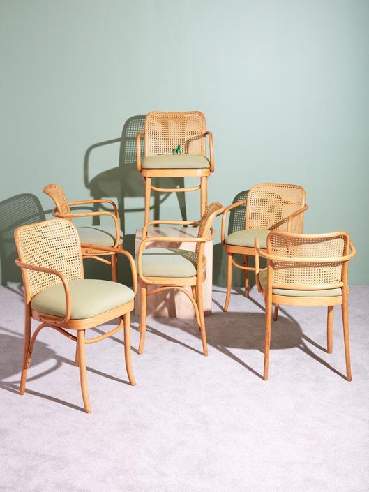 Set of 6 Prague Armchairs by Josef Hoffman