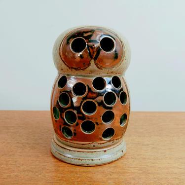Vintage Vandor Owl Votive Candle Holder | Stoneware Lantern | Butterfly Mark Japan 1969 by TheFeatheredCurator