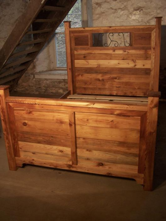 Craftsman Style Platform Storage Bed From Reclaimed Wood and Hand Forged Wrought Iron Accents by BarnWoodFurniture