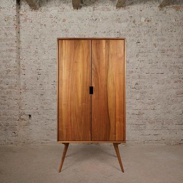 Mid Century Armoire Wardrobe, Walnut, Dresser by MOKUArtisanFurniture