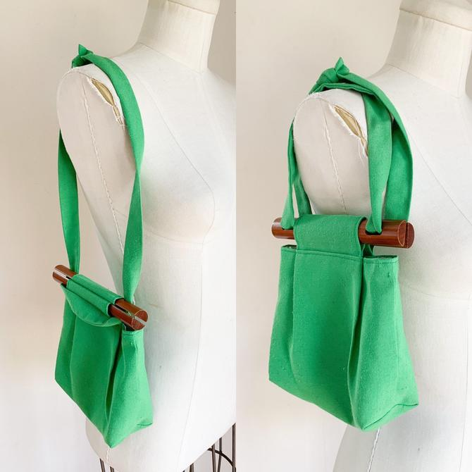 Vintage 1960-70s Kelly Green Fabric Mini Bag by MsTips