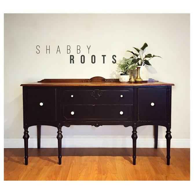 NEW! Black Antique Buffet Sideboard cabinet • distressed modern farmhouse with rustic wood top • San Francisco Bay Area by ShabbyRootsBoutique