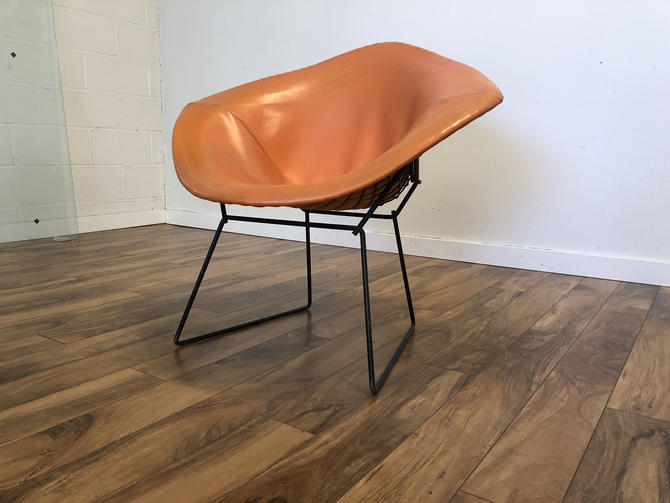 Bertoia Diamond Chair with Orange Cover, Early Knoll Label by Vintagefurnitureetc
