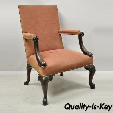 Antique Carved Mahogany Georgian Figural Dolphin Upholstered Library Arm Chair