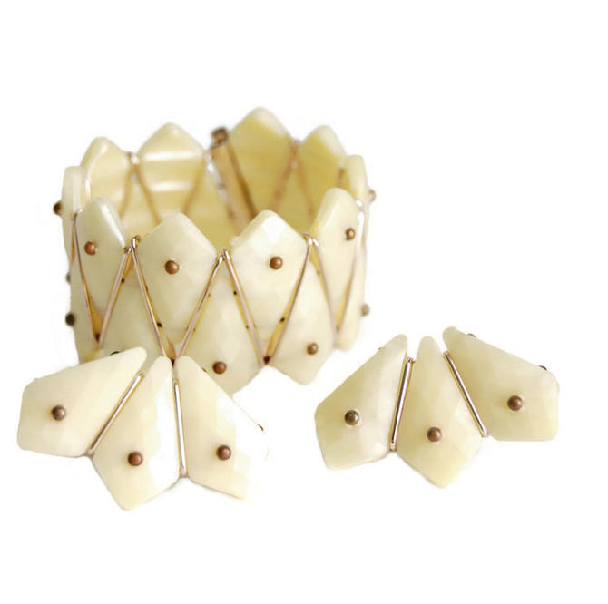 Art Deco Lucite Ivory Flexible Cuff Bracelet & Clip Earrings Vintage Jewelry West Germany Modernist Geometric Fashion Accessory Collectibles by Curiopolis