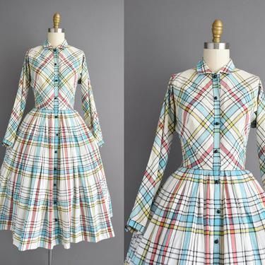 50s dress | Claire McCardell plaid print sweeping full skirt cotton dress | XS Small | 1950s vintage dress by simplicityisbliss