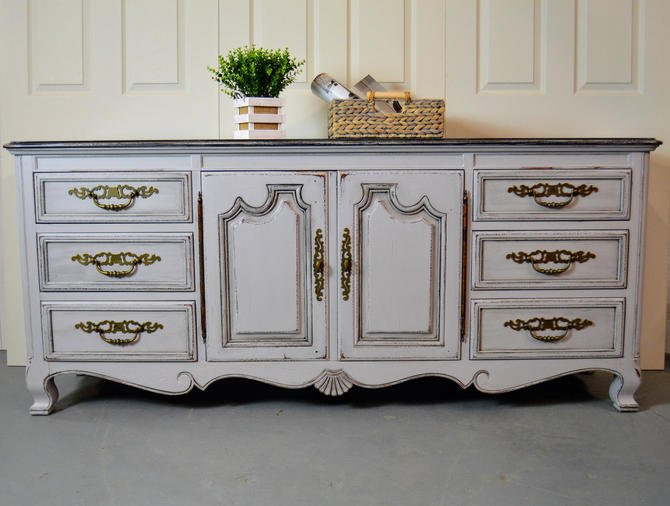 French Country Dresser Grey Commode Wardrobe 12 Drawers