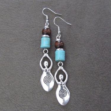 Goddess earrings, African statement earrings, Afrocentric earrings tribal earrings, primitive earrings, boho chic female figure, turquoise by Afrocasian