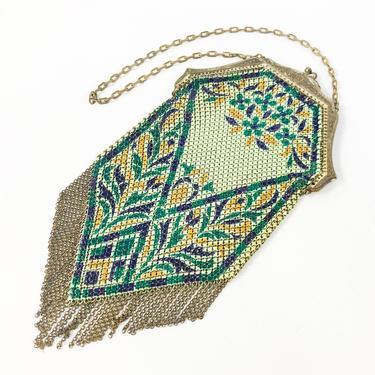 1900s Green Mesh Bag   Turn of the Century Deco Enamel Mesh Evening Bag by GlennasVintageShop