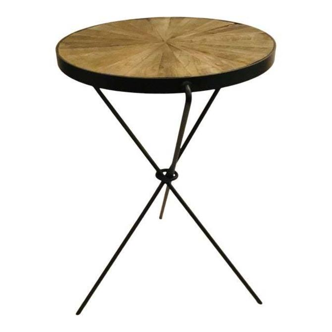 Industrial Modern Reclaimed Wood and Iron Side Table