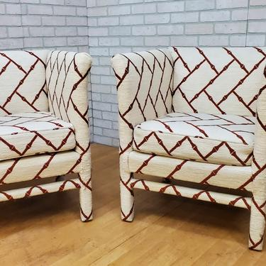 Hollywood Regency Custom Fully Upholstered Petite Cube Catbird Accent Chairs - Pair