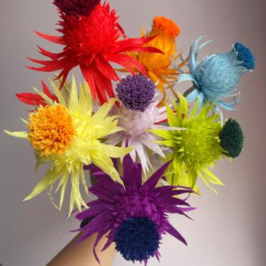 Crepe Paper Rainbow Thistle -- Paper Flowers for Weddings - Home Decor - Floral Wholesale by ReveryPaperFlora