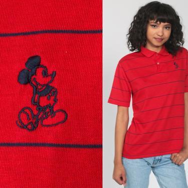 Mickey Mouse Shirt Walt Disney Polo Shirt 80s Graphic Cartoon T Shirt Vintage Retro Tee 1980s Red Kawaii Shirt Single Stitch Shirt Small by ShopExile