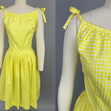1950s NOS Sundress | Vintage 50s Yellow & White Windowpane Pattern Dress with Tie Straps and Full Skirt | small by RelicVintageSF