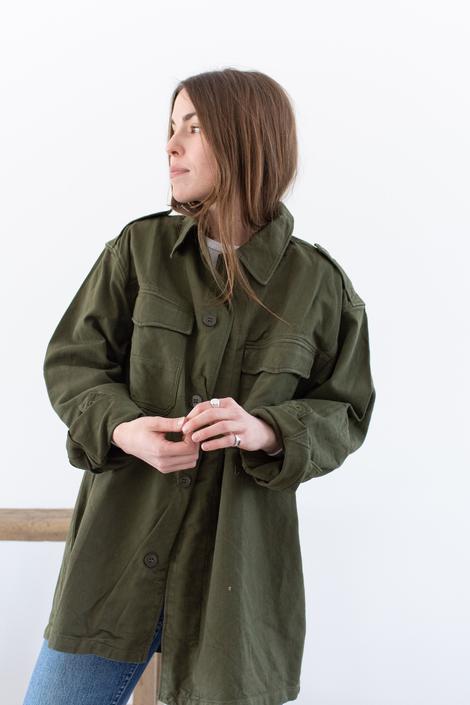 Vintage Olive Green Herringbone Twill Over Shirt | Unisex Simple Jacket | Cotton | L | by RAWSONSTUDIO