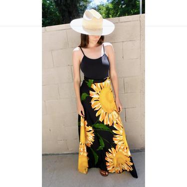 Sunflower Saks Fifth Avenue Skirt // vintage 70s hippy dress boho hippie 1970s floral maxi sun high waist // S Small by FenixVintage