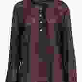 Tory Burch - Brown Cotton Button Blouse w/ Ruffles Sz 14