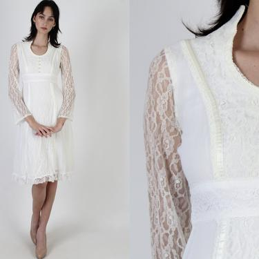 Ivory Prairie Wedding Dress / Vintage 70s Sheer Floral Bridal Dress / Simple Ivory Bridesmaids Lawn Dress / See Through Lace Bell Sleeves by americanarchive