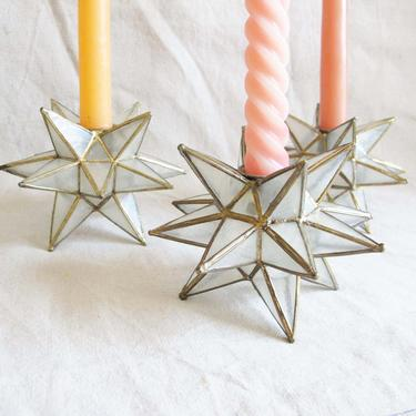 Vintage Capiz Shell Taper Candlestick Holders Set 3 - Star Shaped Brass Pearl Candle Holders - Tabletop Long Candle Holders Boho Home Decor by MILKTEETHS