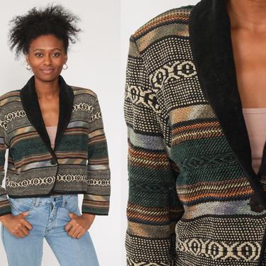 Southwest Blazer Jacket Tapestry Jacket Cropped Jacket 90s Blazer Southwestern Print 1990s Boho Short Crop Festival Vintage Large by ShopExile