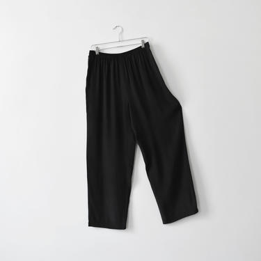vintage black silk easy pants, high waisted pull on trousers, size L / XL by ImprovGoods