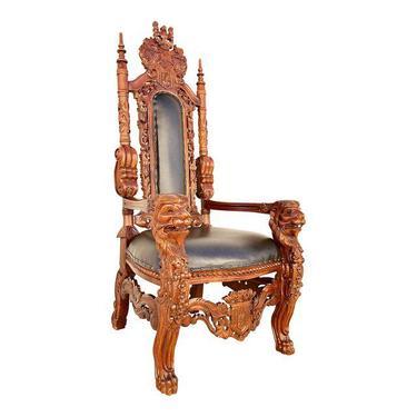 English Traditional Mahogany Kings Throne Chair.