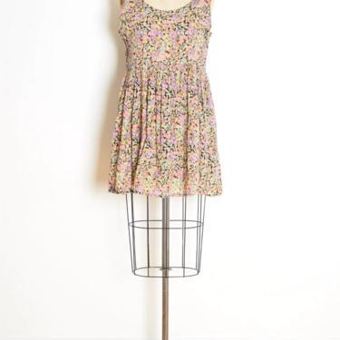 vintage 90s babydoll dress black floral print gauze grunge mini sun dress M clothing by huncamuncavintage