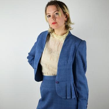Vintage 80s Suit Set / Vintage 80s Skirt Suit Set Jacket Suit / 2 Piece Blue Linen / Small Medium 1980s / VLV Pin Up Rockabilly Boho Preppy by ErraticStaticVintage