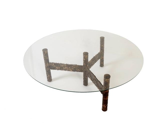 Silas Seandel Glass Topped Brutalist Iron  Cocktail Table  Coffee Table   Mid Century Modern by HearthsideHome