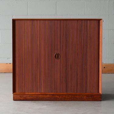Solid Teak Peter Hvidt Mid-Century Cabinet with Tambour Doors Danish Modern (B) by MadsenModern