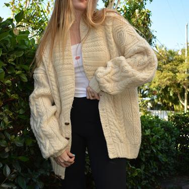 vintage cablelknit sweater / vintage fishermans cardigan / vintage cardigan / vintage oversized cardigan / vintage ivory cardigan / wool / by memoryjunkievintage