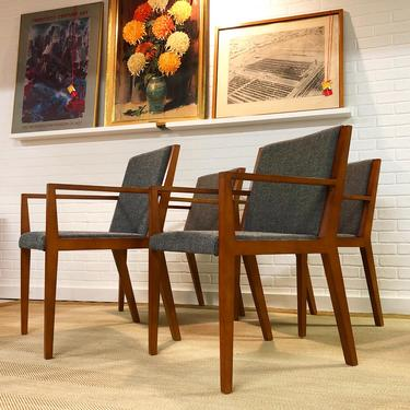 Set Of 6 Modern Cherry Dining Chairs