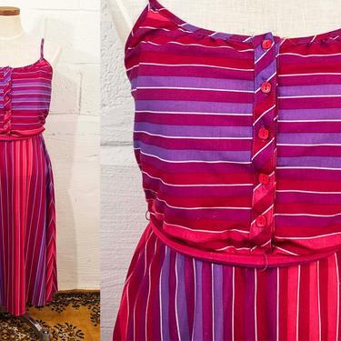 Vintage Striped Pink Sundress Purple White Sun Dress Sleeveless Jewel Tone 1980s 80s MS II Petites Boho Midi Summer Thin Straps Medium Large by CheckEngineVintage