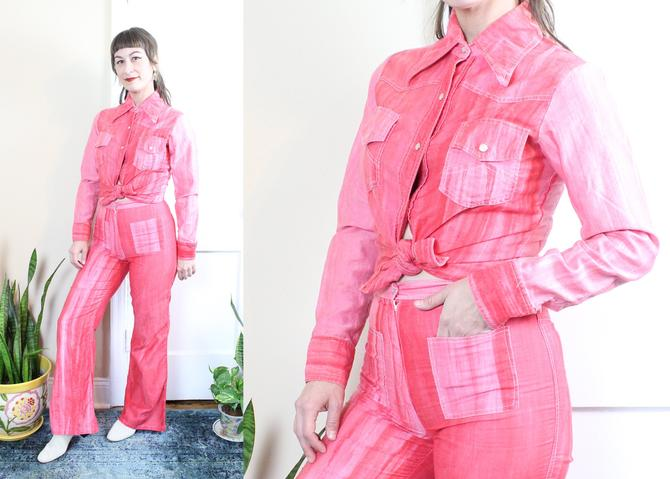 Vintage 70's Tye Dyed Blouse and Pants Set / 1970's High Waisted Pants and Tie Dyed Blouse / Women's Size Small by RubyThreadsVintage