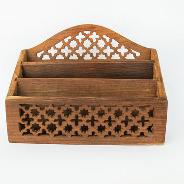 Vintage Carved Geometric Wood Desk Organizer by PortlandRevibe