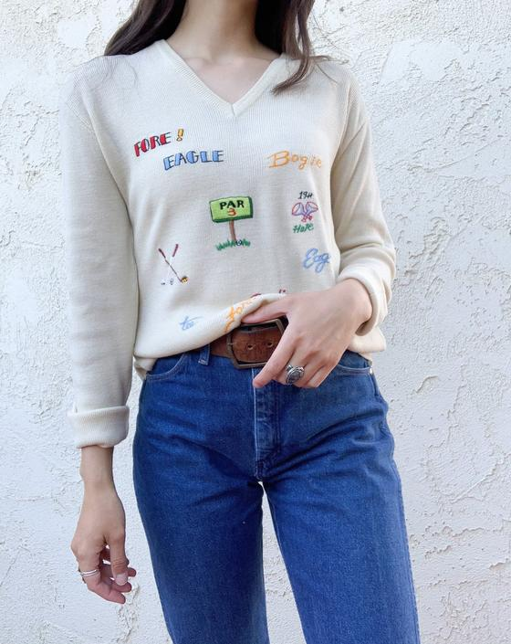 Vintage 70's Andreno Argenti Golf Embroidered Knitted Pullover Sweater by CottontailTrdPost