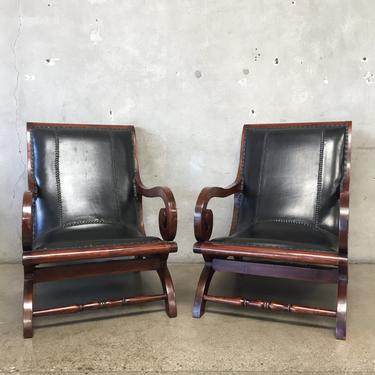 Brilliant Pair Of Leather Indonesian Lounge Chairs Short Links Chair Design For Home Short Linksinfo