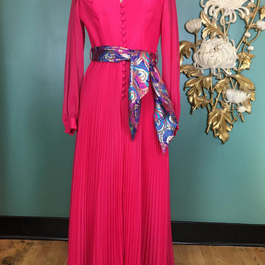 1960s maxi dress, hot pink chiffon, vintage 60s dress, accordion pleat, medium, 60s evening gown, sheer magenta, hostess dress, 28 waist by BlackLabelVintageWA