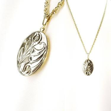 Vintage Locket ~ Floral Relief Oval Locket & Chain ~ Gold Art Nouveau Cala Lily Locket Pendant Necklace ~ Vintage Avon Costume Jewelry by SoughtClothier
