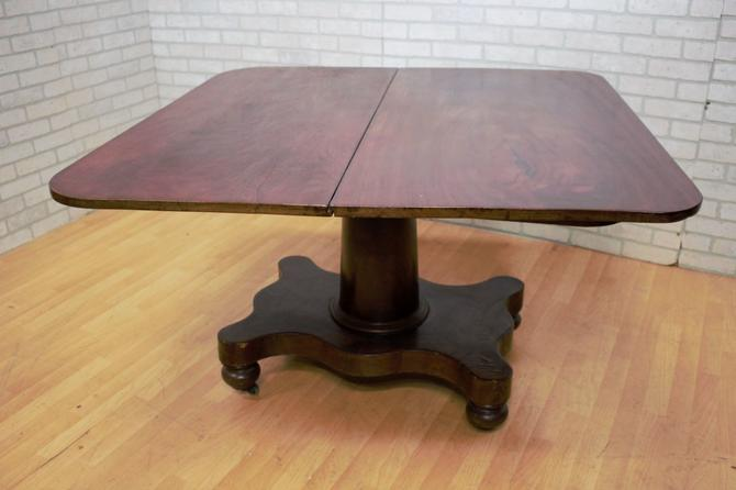 Antique Wood Folding Table on Casters