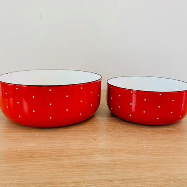Mid Century Modern Red and White Enamel Nesting Bowls - Set of 2 by DelveChicago