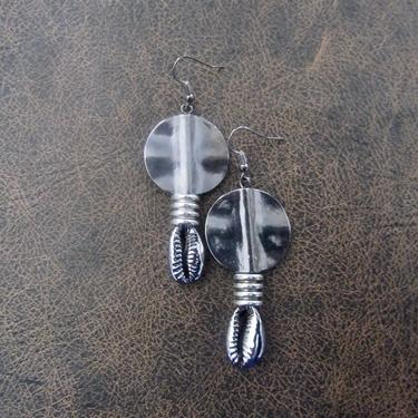 Cowrie shell earrings, gunmetal earrings, gray earrings, etched silver Afrocentric African tribal dangle earrings, abstract goth earrings 2 by Afrocasian