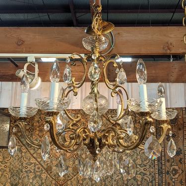 Vintage Gilded Brass and Crystal Chandelier