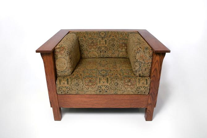 Mission Arts & Crafts Prairie Stickley style Panel Club Cube Chair by DaleMartinFurniture