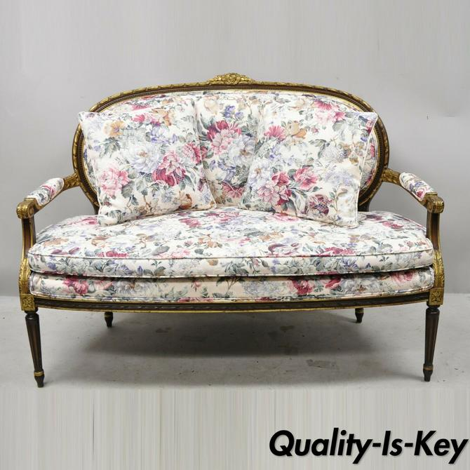 Vintage French Louis XVI Gold Gilt Wood Floral Upholstered Loveseat Settee Sofa