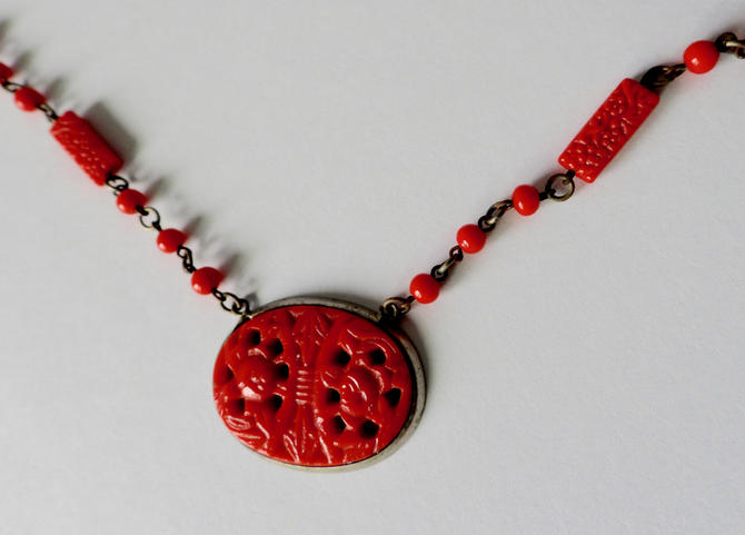 Art Deco Red Czech Pressed Glass Necklace by LegendaryBeast