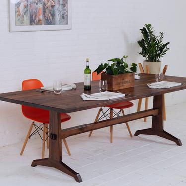 Modern Walnut Dining Table, Mid Century Modern Trestle Table Bohemian Decor mad men by moderncre8ve